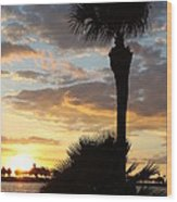 Golden Clouds Over Tampa Bay Wood Print