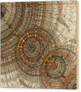 Golden Cogwheels Wood Print