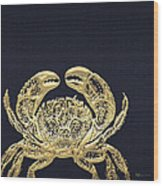 Golden Crab On Charcoal Black Wood Print