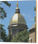 Golden Dome Notre Dame Wood Print by Connie Dye