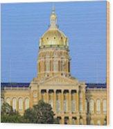 Golden Dome Of Iowa State Capital Wood Print