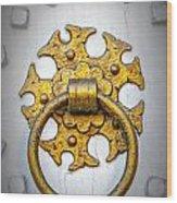Golden Door Knocker Vignette Wood Print