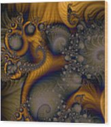 Golden Dream Of Fossils Wood Print