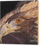 Golden Eagle Close Up Painting By Carolyn Bennett Wood Print