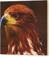 Golden Eagle Eye Fractalius Wood Print