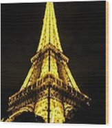 Golden Eiffel Tower Wood Print