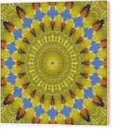 Golden Everlasting Daisy Mandala Wood Print