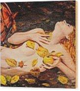 Golden Fall - The River Girl Wood Print