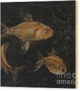 Golden Fishes Wood Print