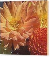 Golden Flowers Upclose  Wood Print
