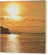 Golden Foggy Sunrise Colors On Santa Rosa Sound At Hurlburt Harbor Wood Print