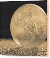 Golden Frozen Bubble Wood Print