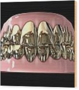 Golden Gangster Teeth And Gums Wood Print by Allan Swart
