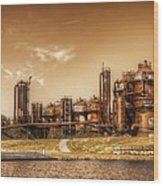 Golden Gas Works Wood Print