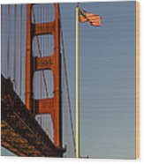 Golden Gate And American Flag Wood Print