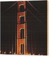 Golden Gate At Night Wood Print