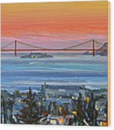 Golden Gate At Twilight Wood Print