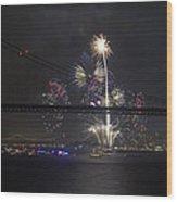 Golden Gate Bridge 75th Anniversary Fireworks With Bridge Silhouette Wood Print