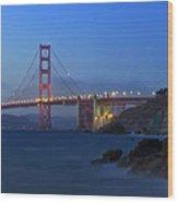 Golden Gate Bridge After Sunset Wood Print
