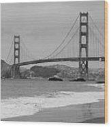 Golden Gate Bridge And Beach Wood Print