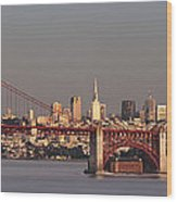 Golden Gate Bridge And San Francisco Panoramic Wood Print