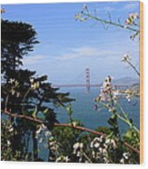 Golden Gate Bridge And Wildflowers Wood Print