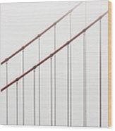 Golden Gate Bridge Cable Fog Wood Print
