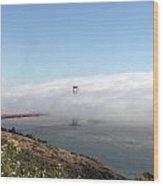 Golden Gate Bridge Emerging From The Fog Wood Print