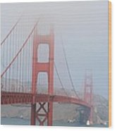 Golden Gate Bridge In Fog Wood Print
