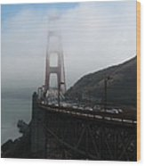 Golden Gate Bridge Pylons In A Mist Wood Print