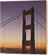 Golden Gate Bridge Sunrise From Marin Wood Print