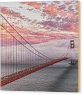 Golden Gate Bridge Sunset Evening Commute Wood Print