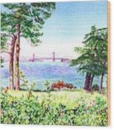 Golden Gate Bridge View From Lincoln Park San Francisco Wood Print