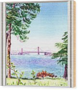 Golden Gate Bridge View Window Wood Print