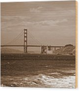Golden Gate Bridge With Surf Sepia Wood Print
