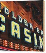 Golden Gate Casino Wood Print by John Rizzuto