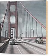 Golden Gate Crossing Wood Print by Eric  Bjerke Sr