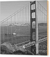 Golden Gate In Bw Wood Print