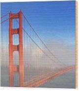 Golden Gate In Morning Fog Wood Print