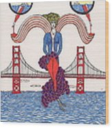 Golden Gate Lady And Wine Wood Print