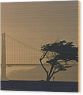 Golden Gate Lovers Wood Print