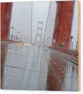 Golden Gate Rain Wood Print