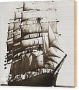 Golden Gate Tall Ship Circa 1905 Wood Print