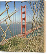 Golden Gate Through The Fence Wood Print