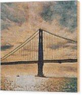 Golden Gatepost Wood Print