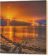 Golden Golden Gate Bridge  Wood Print