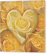 Golden Heart Of Roses Wood Print