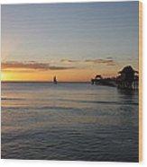 Golden Hour At Naples Pier Wood Print