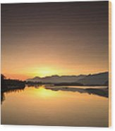 Golden Hour At The River Wood Print