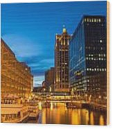 Golden Hour Milwaukee River Wood Print
